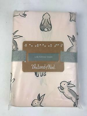 The Land of Nod 100% Organic Cotton Crib Fitted Sheet in Light Pink Bunny