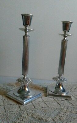 "Antique Candlesticks Pair Silver Plate Column  Gorham Electroplate 12 1/2"" Nice"