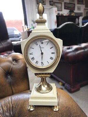 Genuine Vintage Swiss Angelus Marble Mantel Clock 22cms rare shape