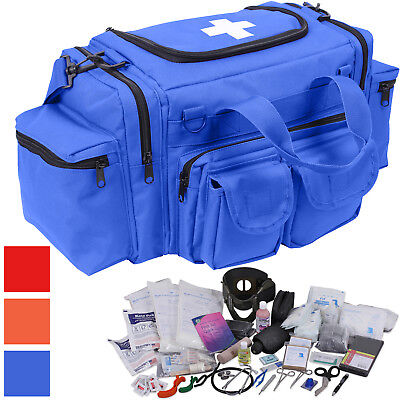 200 Pcs Emergency Medical Trauma Kit Carry Bag & First Aid Supplies Full Stocked