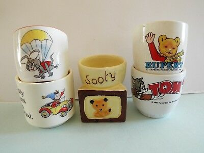 Old Job Lot Egg Cups Sooty Noddy Rupert Tom & Jerry Huckleberry Hound TV Series