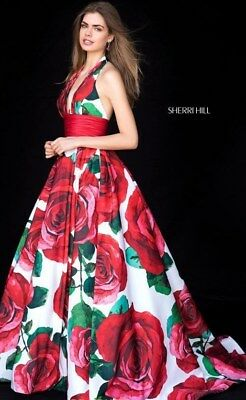 Sherri Hill Prom Pageant Dress style 52084 Rose Print size 14 NWT!!!!!