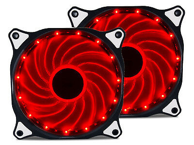 2 Pack 120mm RED LED Computer PC Case Cooling Fan Quiet Sleeve Bearing Vetroo