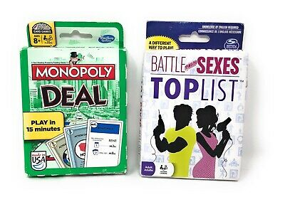 Monopoly Deal & Battle of the Sexes Top List Card Games- Bundle of 2