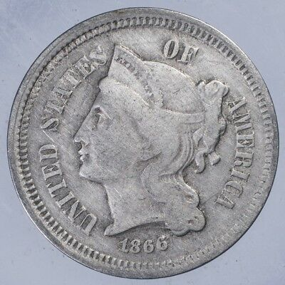 1866 Three Cent Nickel VG cleaned