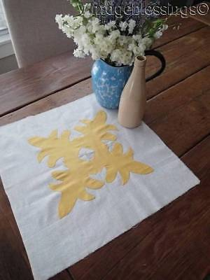 Vintage Expertly Appliqued Yellow & White Quilt Block ~ Make Pillow