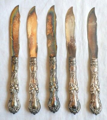 5 Antique 1835 R Wallace Floral Pattern Silverplate Fruit Knives