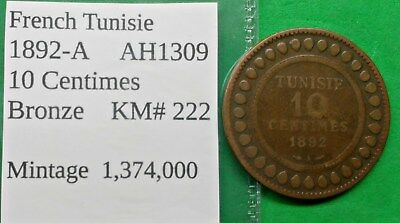 World Foreign Old French Tunisia 10 Centimes 1892 AH1309 Coin KM# 222 !!