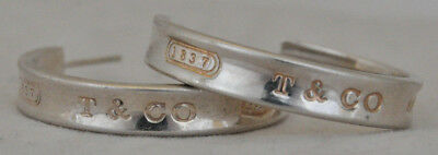 """Authentic Tiffany & Co 1837 Large 1"""" Sterling Silver Hoop Earrings"""