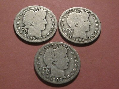 1903-O 1907-O & 1908-O Barber Quarters Up For Auction (Ungraded - You Decide)
