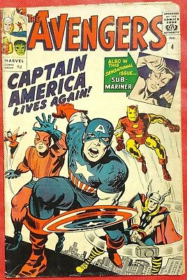 AVENGERS 4 Marvel Silver Age 1964 1st Silver Age Captain America appearance vg/f