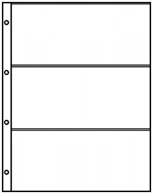 Lindner 8813 Pocket Pages A4 Crystal Clear with 3 Pockets (220 x 97 mm)