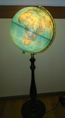 Vintage World Globe Floor Lamp on Wood Base National Geographic Made in Germany