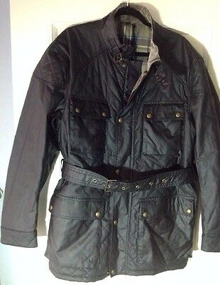 NEW Men's BELSTAFF 48 Quilted Black OIL CLOTH Waxed Cotton JACKET Belt Euro 58