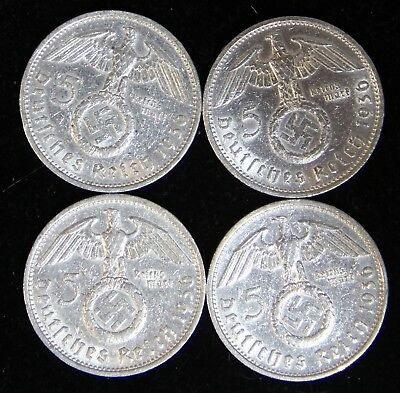 Four (4) Coin Nazi 5 Reichsmark Silver Set 1936-A & 1936-D Polished