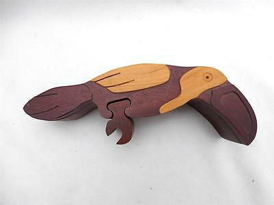 Mahogany Wood TOUCAN Bird Figure Puzzle Figure Very Nicely Done Home Decor