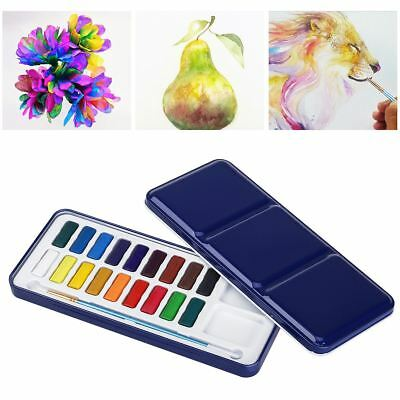 18 Colors Assorted Solid Watercolor Cake Artist Painting Pigment Brush Box Set