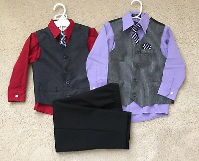 Toddler Boys Suit set with matching Shirts/Vests/Ties, Size 4, EUC!!