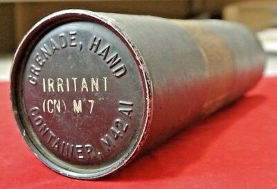 """Rare Vintage WWII M42A1 M7 Hand Grenade Container Canister Tube - EMPTY - 11"""""""