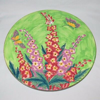 MALING ENGLAND TUBELINED DELPHINIUM PLATE GREEN BACKGROUND c.1935