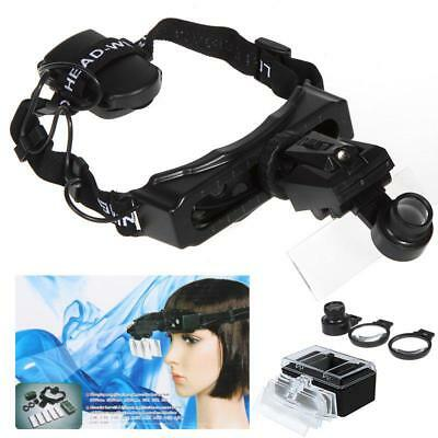 Headband Headset Led Light Magnifier Magnifying Glass Loupe Watch Repair 8 Lens