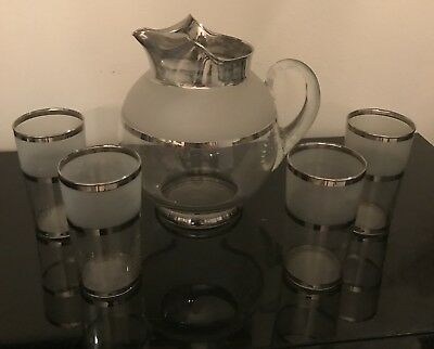 Five Piece Set Vintage Frosted Glass Pitcher And Glasses