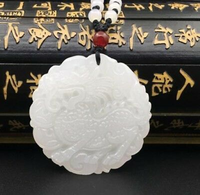 Chinese Natural White Jade Hand Carving Animal Kylin lucky Pendant