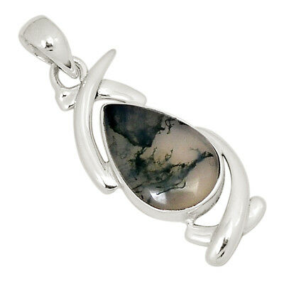 Moss Agate 925 Sterling Silver Pendant Jewelry 22176P