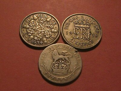 "1921 1934 & 1938 Great Britain 6 Pence Sixpence Silver Coins! ""You Decide"""