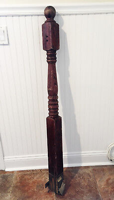50 inch Antique Decorative Turned Oak Wood Newel Post Finial Old Vtg Staircase