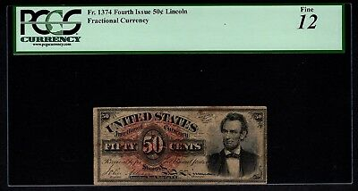 Fourth 4th Issue 50 Cents PCGS 12 Fr.1374 Abraham Lincoln Fractional Currency