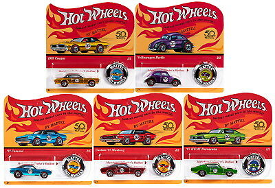 Hot Wheels 2018 50th Anniversary Originals Redlines Diecast Cars 1/64 Set of 5