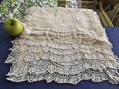 12 Fabulous Antique French Hand Embroidered Net Lace Placemats with 3D Roses