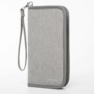 Inateck Gray Travel Wallet Passport Holder Family Document Card with Hand Strap