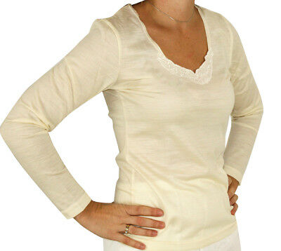 Thermals Ladies Georges 100% Pure Wool Long Sleeve Thermal Lace Top Beige