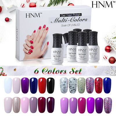 6 Colors Gel Nail Polish Set HNM Manicure Soak Off UV LED Nail Art Kits US STOCK