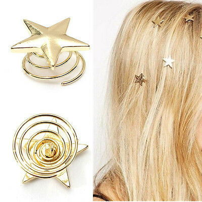 Vogue Women Lady Cute Star Gold Swirl Hair Pins Clip Hairpin Barrettes Gift