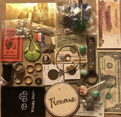 Old Antique Vintage Junk Drawer Estate Lot Coin Stamp Gold Collectible Jewelry 3