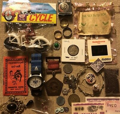 Old Antique Vintage Junk Drawer Estate Lot Coin Stamp Gold Collectible Jewelry 1