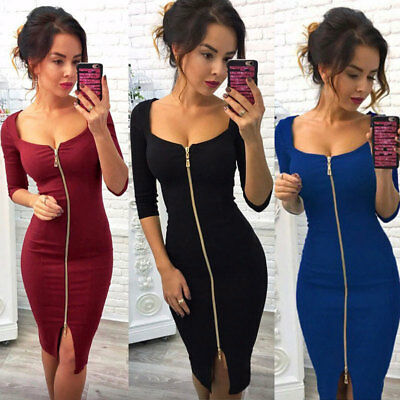 UK Sexy Womens Deep V Neck Bodycon Front Zipper Cocktail Ladies Party Midi Dress