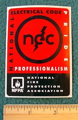 NEC National Electric Code Sticker Decal NFPA Pride Professionalism Electrical