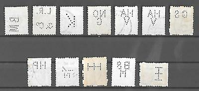 """NETHERLANDS Used Classic Lot of 12 Stamps """"Roltanding"""" & Perfins"""
