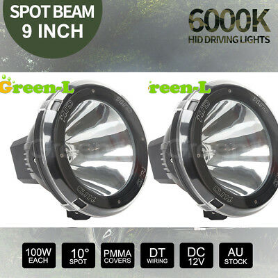 "Pair 9"" inch 100W HID Driving Lights XENON Spotlights Offroad 4x4 Work 12V Black"