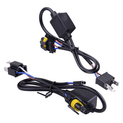 2Pcs 12V 35W Relay Wiring Fit for H4 Hi/Lo HID Bi-Xenon Kit Harness Controller