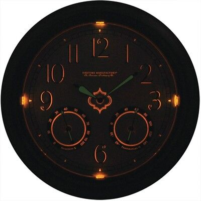 FirsTime Round LED Trellis Outdoor Wall Clock W Thermometer And Hygrometer Decor
