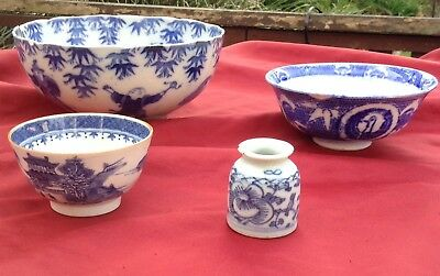 Antique/Vintage Chinese Blue & White Porcelain  A/F x 4
