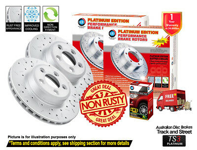For TOYOTA Landcruiser HDJ100 UZJ100 FRONT Slotted Drilled Rotors & 4X4 Pads
