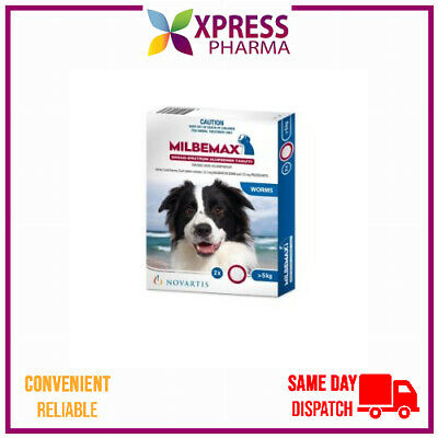 Milbemax Allwormer for Large Dogs 5 to 25 kgs intestinal worms XPRESS New Stock