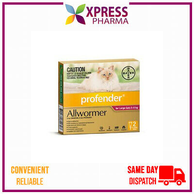Profender Allwormer for Large Cats 5 to 8 kgs Intestinal Wormer NEW STOCK XPRESS