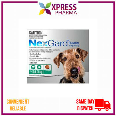 NEXGARD Flea and Tick treatment for Dogs Medium 10.1 to 25 kgs